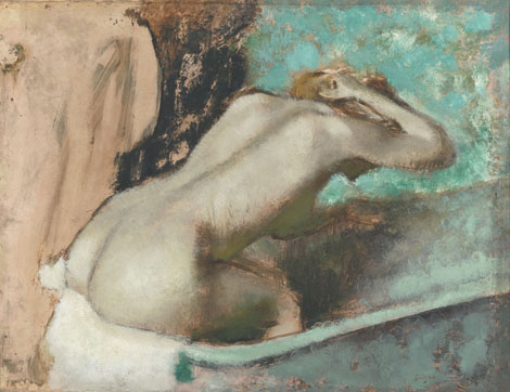 Woman seated on the edge of the bath sponging her neck - Edgar Degas