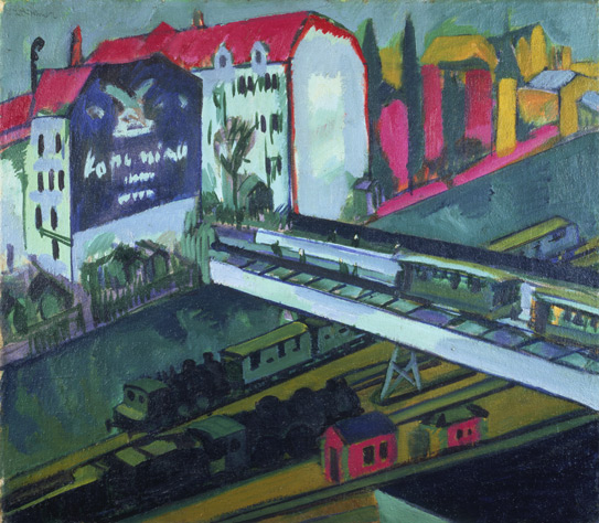 Tram and railway, seen from the artist's studio