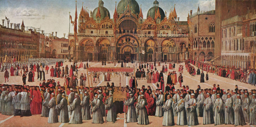 Procession of the True Cross in Piazza San Marco, Venice - Gentile Bellini