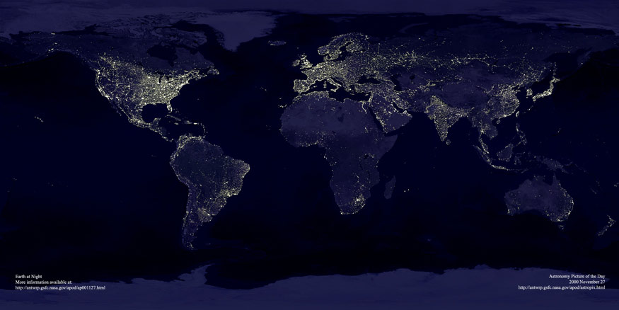 Earth at Night - satellite photos