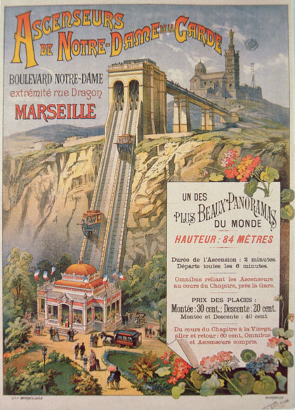 Advertising poster for the Notre-Dame de la Garde funicular, Marseilles